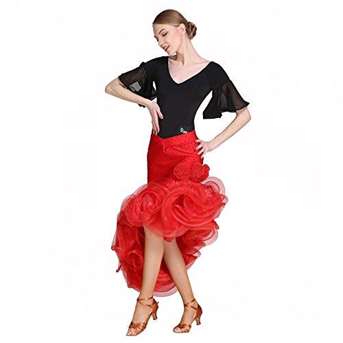 Q-JIU Latin Dance Kleid Kostüm Mit Spandex EIS Seide Viskose Kristall/Strass Horn Hülse Sexy Backless Shirt/Kleid,Black,L