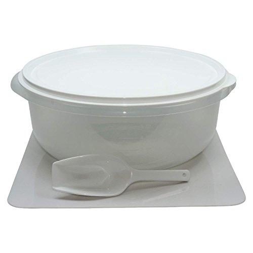 Viva-Haushaltswaren - Grosse Hefeteigschüssel 6 Liter mit Plopp-Deckel Rührschüssel Frischhaltedose Salatschüssel, mit Messskala und Mehlschaufel- BPA-frei hergestellt in Deutschland !