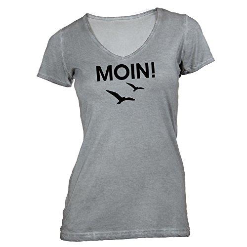 Damen T-Shirt V-Ausschnitt - Moin! Möwen - Hamburg Style St. Pauli Grau