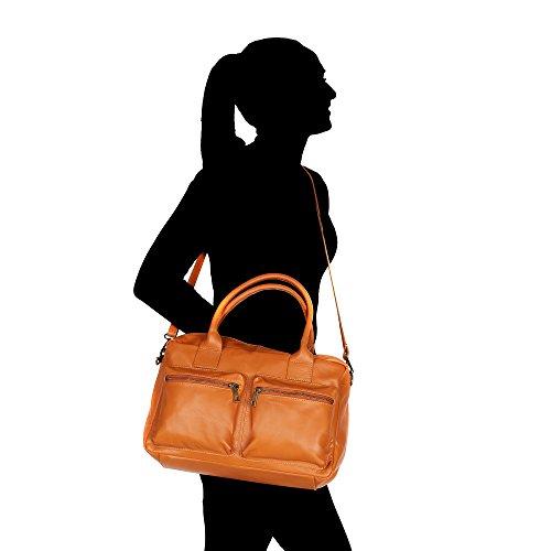 Borsa a Mano da Donna con Tracolla in Vera Pelle Made in Italy Chicca Borse 36x26x15 Cm Cuoio