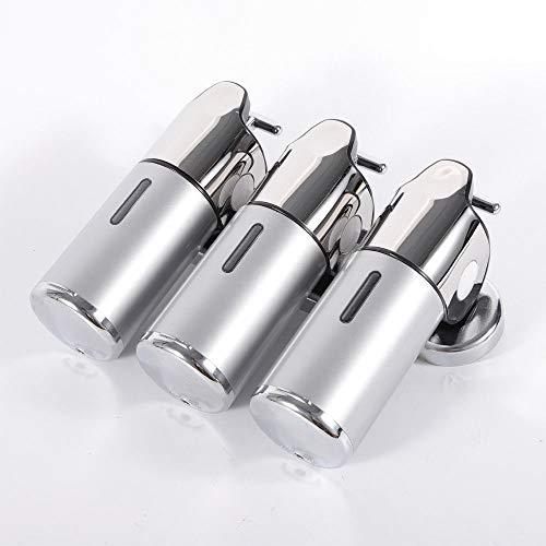 OUBAYLEW Dispensador de champú Triple Plata, 3 dispensadores de jabón para baño de 500 ML, dispensador de jabón de Pared de Acero Inoxidable dispensador de jabón para Hotel baños