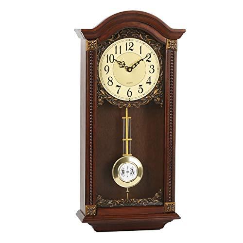 Wanduhren, antike hängende Uhren Holz Pendel Finish Quarz Uhren mit Westminster Chime mechanische Nicht tickende Quarz Wanduhren Geschenk (58 cm)