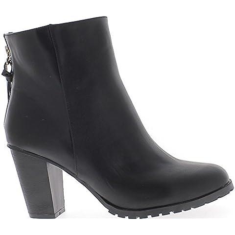Botas negras de tacón de cuero de 9 cm de tamaño de mujer alta