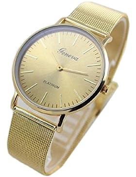 Vovotrade HOT Damenmode -Uhr-Edelstahl-Band-analoge Quarz-Armbanduhr(Gold)