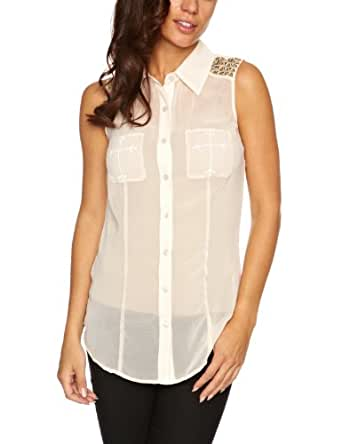 House Of Dereon Sleeveless Studded Button Down Women's Top Grey X-Small