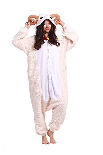 play Kostüme Kigurumi Tiere Schlafanzug Erwachsene Strampelanzug Anime Hoodie Nachtwäsche Neue Ziege XL (Erwachsenen Strampelanzug Kostüm)