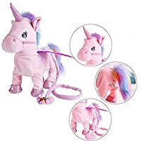 Singing and Walking Electronic Pet Unicorn Plush Toys Pegasus Pink Robot Horses Musical Puppy Pet Soft Toys Gift Toy for Baby Toddlers Kids Pets (Pink)