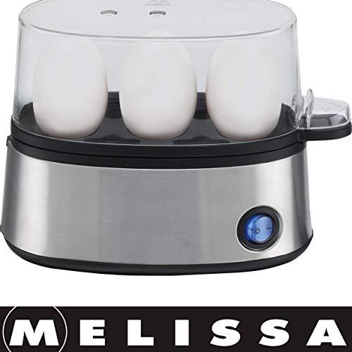 Melissa 16270019 elektrischer Eierkocher, für max. 3 Eier, Edelstahlfront, 300 Watt, Abschaltautomatik, 2 Personen,Single,