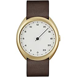 slow O 12 - Dark Brown Vintage Leather Gold Case White Dial Unisex Quartz Watch with White Dial Analogue Display and Dark Brown Leather Strap
