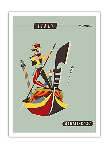 italie-qantas-et-boac-compagnies-aeriennes-venise-gondole-affiche-ancienne-vintage-companie-aerienne