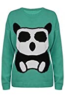 Womens Ladies Panda Girls Print Knitted Long Sleeves Pullover Sweater Jumper Top