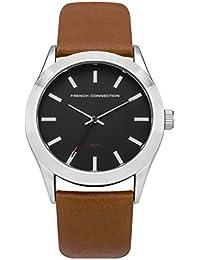 French Connection PU SFC109BR - Reloj de cuarzo para hombres con esfera negra y correa marrón de cuero