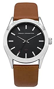 FRENCH CONNECTION Men's SFC109BR Quartz Watch with Black Dial Analogue Display and PU Strap