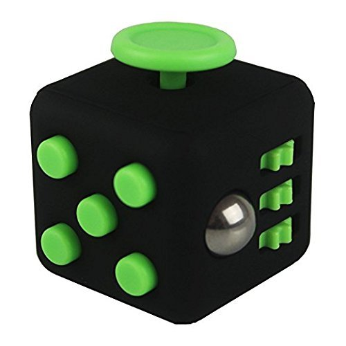 Fidget Cube Relieves Stress And Anxiety, Fidget Toy Fun Cube Anxiety Attention Toy for Children and Adults with ADHD ADD OCD Autism-Black/Green