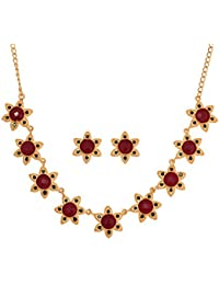 Touchstone Gold Plated Floral Necklace Set For Women