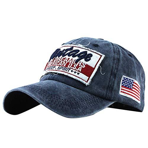 Saingace(TM) Einstellbar Vintage Baseball Cap ☼ Unisex Beunruhigt Basecap US Nationalflagge Stickerei Kappen Einfache Lässige Gebogene Kappe Sonnenhut Hip Hop Baseballmütze Us-baseball-kappen