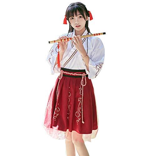 xianjun Hanfu Female Costume Dress Women's Improved Costume Cross Collar Jacket Skirt Waist Embroidery Spring Summer Suit for Women Girls