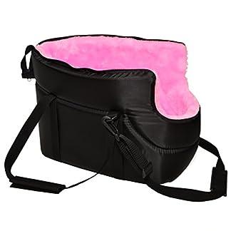 MALWERA BLACK with PINK FUR CARRY BAG SHOULDER TRAVEL CARRIER DOG PUPPY CAT PET ANIMAL 416kjty uPL