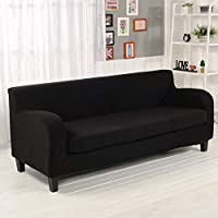 Ocamo Cubierta de sofá de Dos Piezas para Comedor, sofá con reposabrazos Negro, Longitud Doble 85-120Cm
