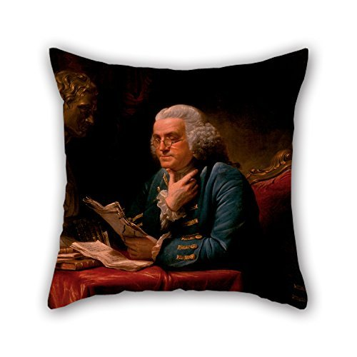 beautifulseason Pillow Cases of Oil Painting David Martin - Benjamin Franklin 16 X 16 Inches/40 by 40 cm,Best Fit for Her,Bedding,Saloon,Son,Living Room,Kids Girls 2 Sides