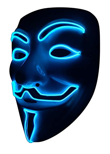 SOUTHSKY LED Maske V Vendetta Maske EL Draht Leuchten Für Halloween Kostüm Cosplay Party(V-Blue)(V-Blau) (V For Vendetta Kostüm)