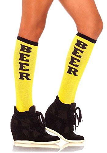 Preisvergleich Produktbild Leg Avenue 5608eine Größe 6bis 12gelb/schwarz Bier Run Woven Knie Socken mit Elastic Manschette