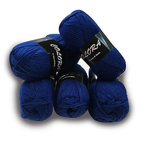 Panini tessuti 5 gomitoli lana colora -blu- per lavori ai ferri-34 colori disponibili- 50g/140metri