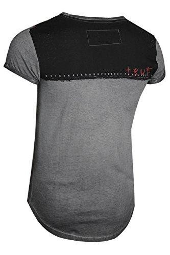 trueprodigy Casual Herren Marken T-Shirt mit Aufdruck, Oberteil Cool und Stylisch mit V-Ausschnitt (Kurzarm & Slim Fit), Shirt für Männer Bedruckt Farbe: Grau 1072168-0403 Anthracite
