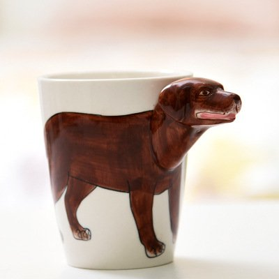 HZ andi 3D Pure Hand Painted Cute Animal Coffee Cup Coffee Cup Molded 3D Ceramic Coffee Mug Novelty Gift, Labrador