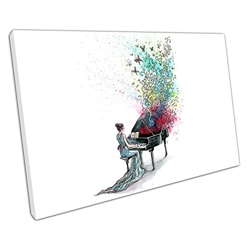 61 Grand Piano (Kunstdruck auf Leinwand Illustration Art Grand Piano Musik Schmetterlinge - 61 x 41 x Depth 2cm)