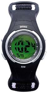 Shivas - D52408-003 - Montre Enfant - Quartz Digital - Cadran Vert - Bracelet Nylon Noir