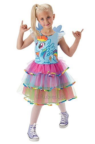 Rubies Bambini My Little Pony Rainbow Dash deluxe vestito e ali Multicoloured M Size - (Costumi Birthday Party Dress)