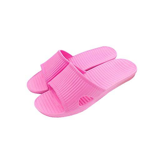 TELLW Solid Couleur Velours Corail Épaississement Chaud Plancher en Bois Pantoufles DHiver et en Plein Air Coton-Aimant les Femmes et les Pantoufles des Hommes Rose