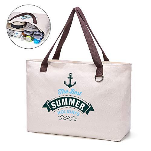 JANSBEN Große Strandtasche mit Reißverschluss Badetasche XXL Shopper Schultertasche Beach Bag fur Damen Herren Weiß