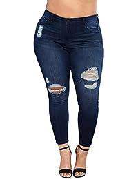 Tensay Vaquero para Mujeres Pantalones de Cintura Alta Talla Extra Rasgada Estiramiento Delgado Ajustados Pantalones