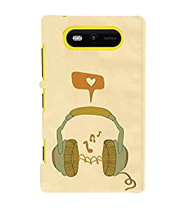 FUSON Green Headphones Vector Illustration 3D Hard Polycarbonate Designer Back Case Cover for Nokia Lumia 820