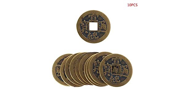 Junlinto lot 24mm Feng Shui Chinois Chanceux Ching Coins Dix Empereurs Educatif Coin-10 10pcs