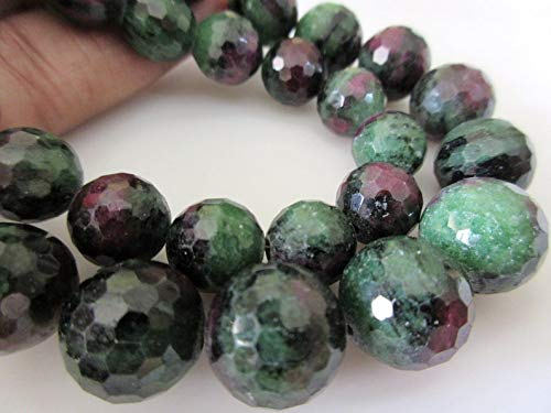 LOVEKUSH RARE BEADS AAA Ruby Zoisite Faceted Round Beads, Ruby Zoisite Sphere Beads, 10mm 12mm Ruby Zoisite Beads, Natural Loose Ruby Zoisite13 BeadCode-RM280 -