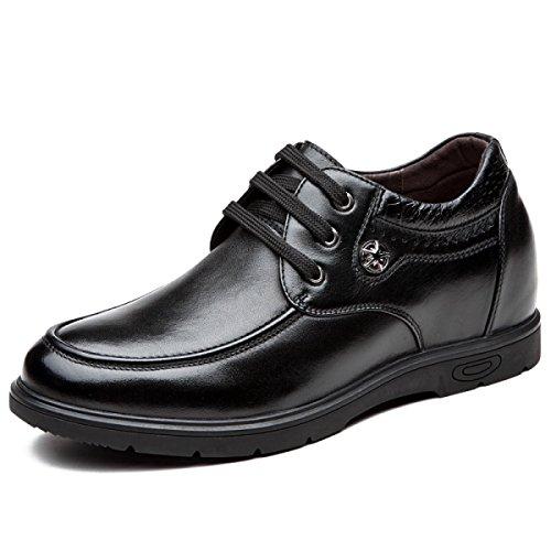 GRRONG Herrenmode Business-Schuhe Aufzug Schuhe 8 Cm Höher Freizeitschuhe Britischen Stil Black