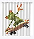 Rana verde que juega el monopatín Decoración casera de la cortina de ducha, 150W x180H (60W...