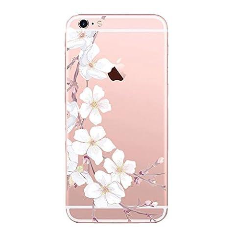 iPhone 6 6S Hülle Wouier® TPU Silikon Abdeckung Schutzhülle Transparent Cover Rose Blume Mandala Case iPhone 6 Plus/6S Plus -Sakura-Serie (iPhone 6/6S, Sakura 02)