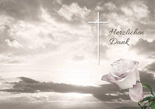Trauer Danksagungskarten Trauerkarten ohne Innentext Motiv Himmel Rose 25 Klappkarten DIN A6 im Hochformat mit weißen Umschlägen im Set Dankeskarten Dankeschön Karten Kuvert Danke sagen Beileid (K68)