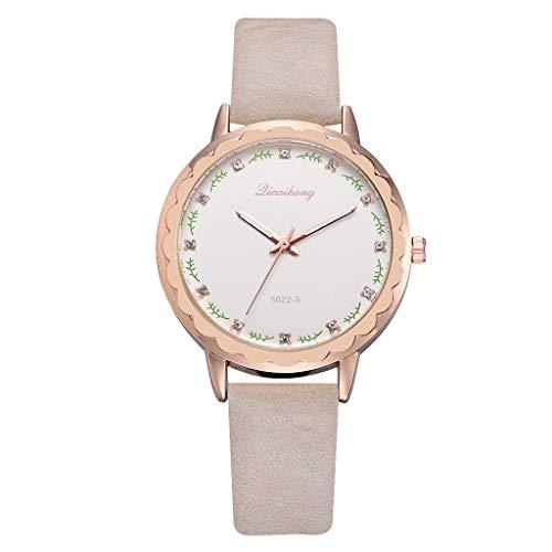 TWISFER Uhren Damen Armbanduhr Frauen Casual Quarz Lederband Creative Blätter Maßstab Zifferblatt Analoge Armbanduhr Schön Armbanduhr für das Festivalgeschenk