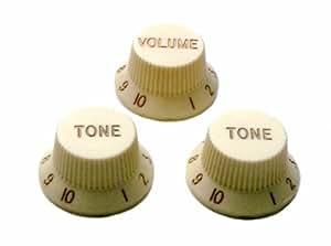 Northwest Guitars Jeu de 3 boutons de potentiomètre pour guitare Stratocaster, 1 bouton de volume, 2 boutons de tonalité Blanc cassé