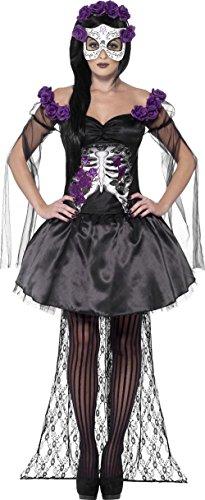 Elegantes Skelett Sugar Skull Damenkostüm schwarz-lila (Lila Sugar Skull Kostüm)