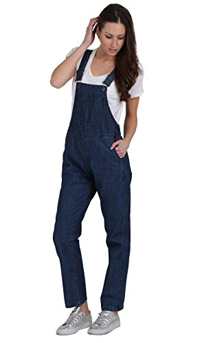 Ladies' Regular Fit Denim Dungarees - Stonewash Quality dungarees Value Overalls