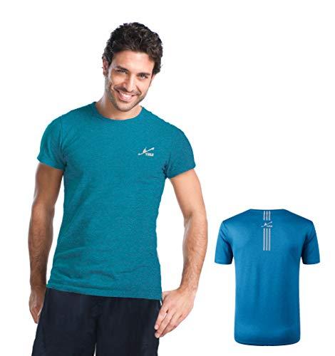 Yirui Sportshirt Herren Fitness Shirt Laufshirt Kurzarm T Shirt(Blau M) -