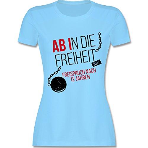 Abi & Abschluss - Abi 2017 Ab in die Freiheit - tailliertes Premium T-Shirt mit Rundhalsausschnitt für Damen Hellblau