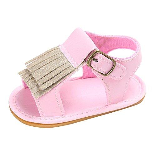 BZLine® Frange PU Cuir Sandales à Semelle en caoutchouc, Anti-glissant pour Bébés Filles 0-18Mois pink