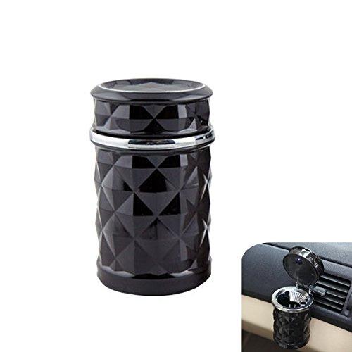 Preisvergleich Produktbild YSM Auto-Zigaretten-Aschenbecher blaue LED-Licht-Anzeige Reise Auto Zigarette Geruchsbeseitigung Rauch Diffusor kühlen(Schwarz)
